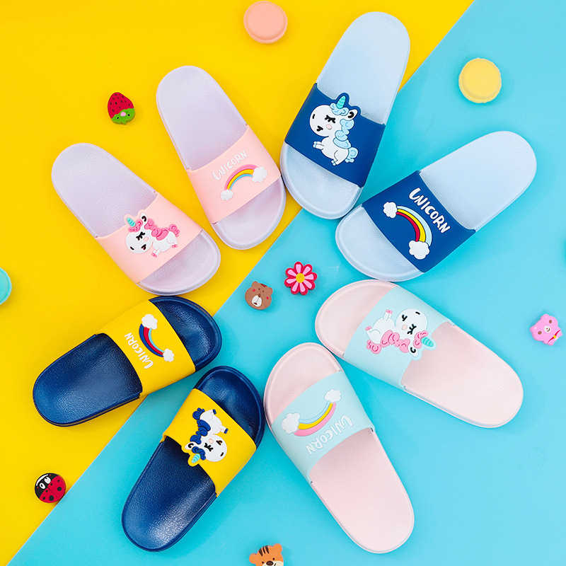 2019 Unicorn girls boys Slippers kids For Boy Girl Cartoon Rainbow Shoes Summer Baby Indoor Slippers Beach Swimming