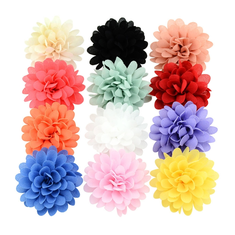 12 Pcs Chiffon Flower Baby Girls Hair Clip Baby Girls Toddler Barrette Accessory Color Random delivery ...