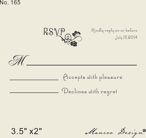 Custom Rsvp Rubber Stamp To Create Response Cards Wedding Stationary