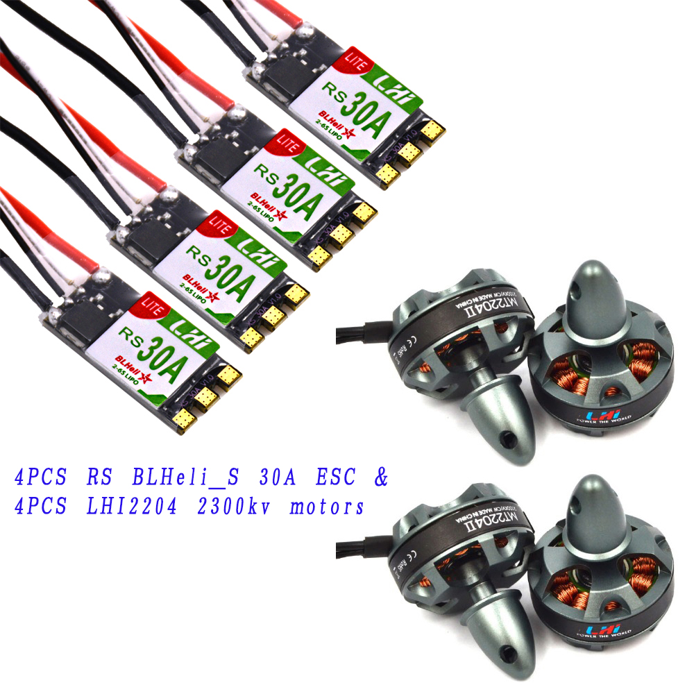 LHI 4x MT2204 2300kv CW CCW FPV Brushless Motor (2-4S)+4xRS 30A 3-6s BLheli_S ESC Support Oneshot125 Oneshot42 for High KV Motor lhi fpv 4x mt2206 2300kv cw ccw fpv brushless motor 2 4s 4x littlebee 30a esc blheli opto 2 6s supports oneshot125 for rc