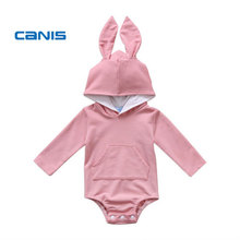 CANIS 2018 Newborn Baby Girl Boys Romper Hooded Rabbit Ear Romper Cute Outfits Clothes