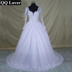 Image 2 - 2020 Vestido De Noiva Long Sleeve Lace V Neck Wedding Dress Modern Arabic Elegant Bridal Gown With Real Pictures