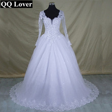 QQ Lover 2017 Vestido De Noiva Long Sleeve Lace V Neck font b Wedding b font