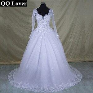 Image 2 - Robe De mariée en dentelle à manches longues col en V, robe De mariée moderne élégante et arabe avec des images réelles, 2020