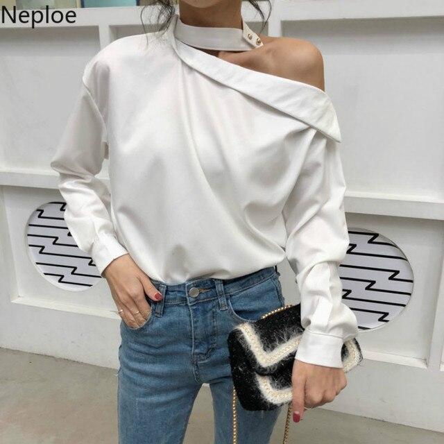 Neploe נשים חולצה סלאש צוואר סקסי חולצות מכתף גבירותיי חולצות חולצה 2019 קיץ אופנה לבן שיפון חולצה Blusas 38615