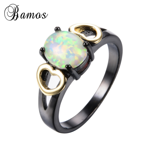 Bamos Unique Rainbow Fire Opal Rings For Women Men With Gold Heart