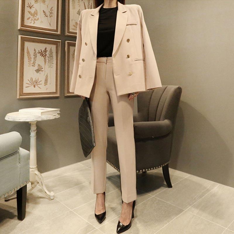 Professionnel Veste Deux Costume coréen pièce Fendue Femmes Pantalon Petit Droit Mode 2 Occasionnel Mince Nouvelle 1 qwHExRAw