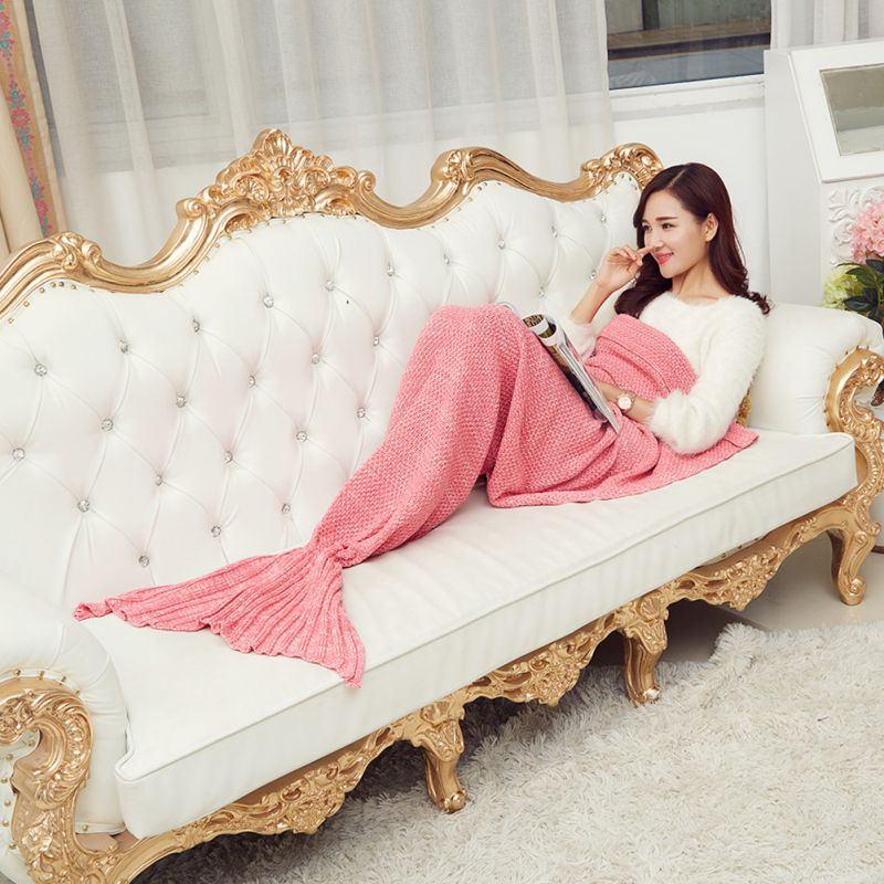 Creative Mermaid Tail Blanket Adult Mermaid Blanket Knit Cashmere TV Sofa Blanket Girls Gift