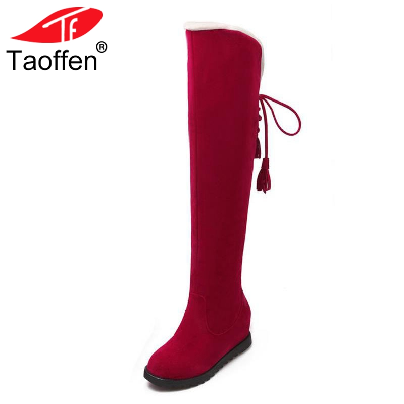 Taoffen Women Winter Flats Boots Thick Fur Snow Boots Over The Knee Lace Up Warm Women Shoes Inside Fur Footwear Size 34-43 цены онлайн