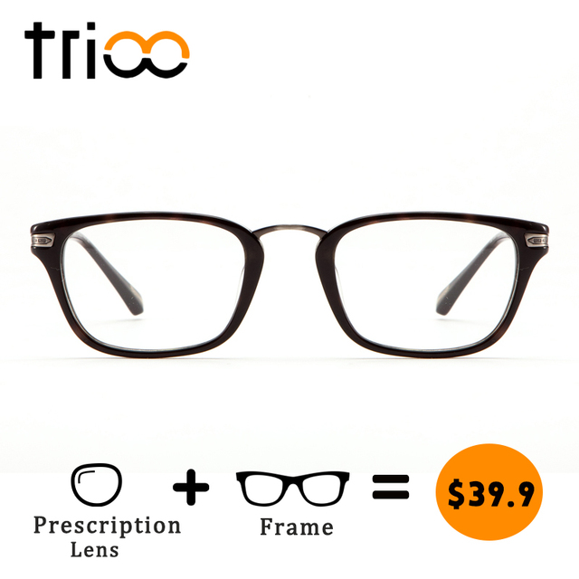 Trioo Fashion Desain Retro Kacamata Klasik Hitam Bening Miopia Kacamata  Minus Recept Kacamata Progresif Unisex 91952f4b0a
