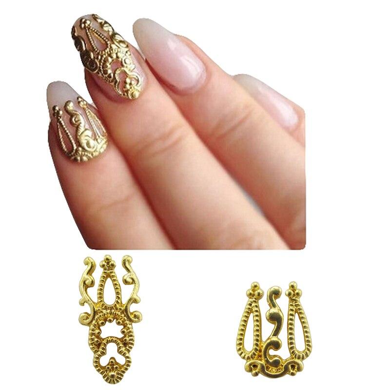 10pcs Alloy nail art gold 3d nails decorations new arrive Beautiful ...