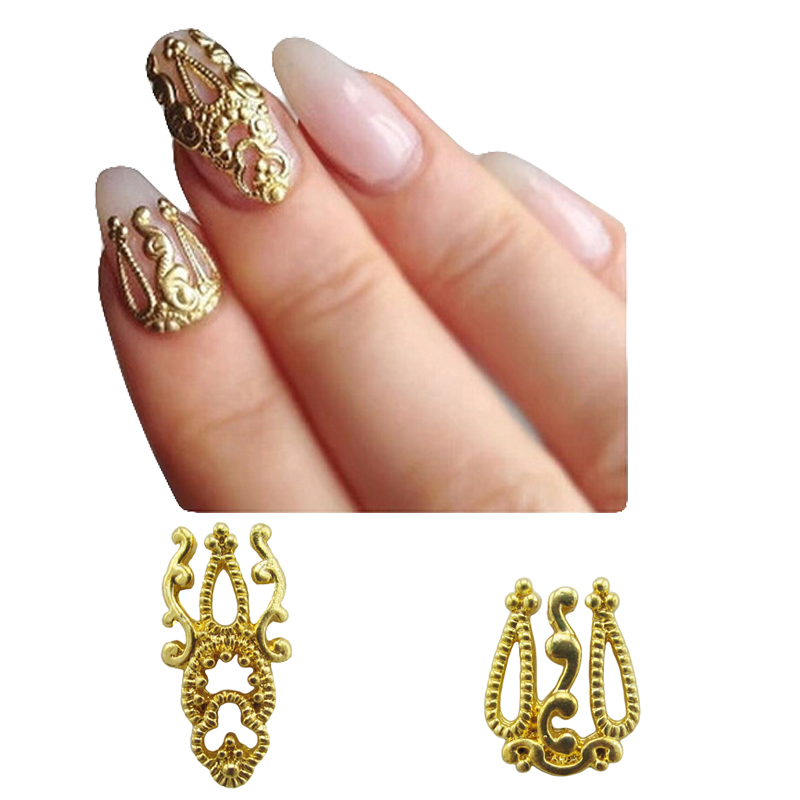 Gold metal nail studs scarab nail art decorations for Decor jewelry