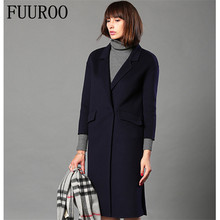 Double-side Cashmere Woolen Coat For Women Ladies High Quality Brand Design Casual Handmade Slim Fit Woolen Trench Coat W4078