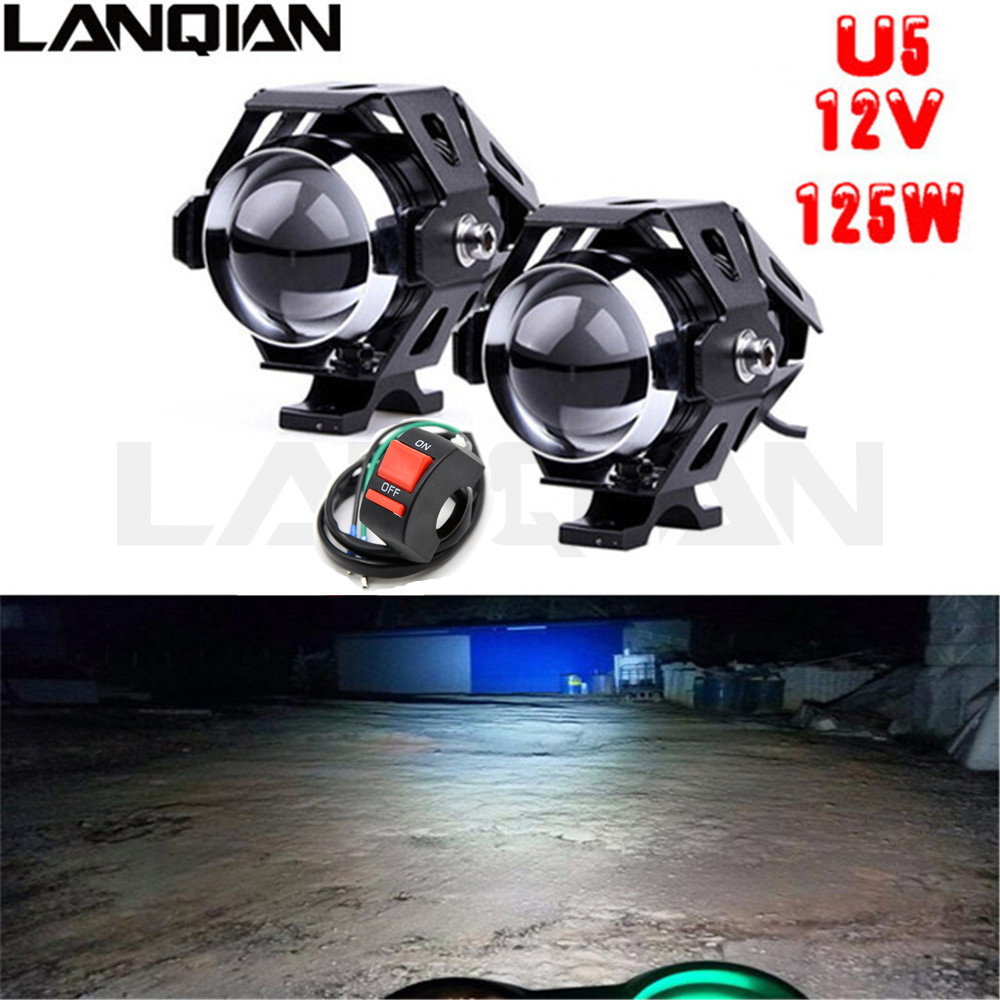 2PCS 125W White Motorcycle Lights Auxiliary Lamp U5 Led Chip Motorbike Spotlight Accessories 12V Moto DRL Spot HeadLights