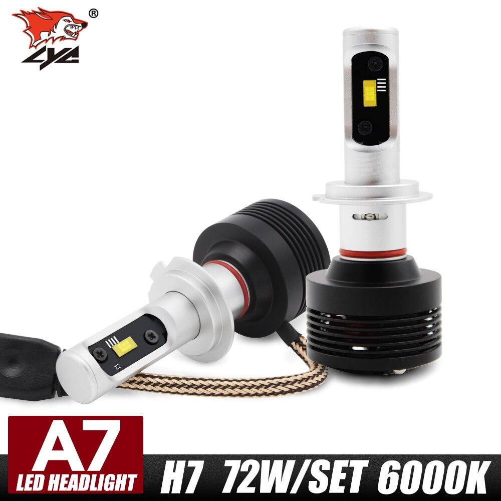 ФОТО LYC 2pcs H7 72W Car LED Headlight Bulb 9200lm White 6000K Auto h7 Led Headlamp H7 12v 24v For Audi A7  Car Head Lights