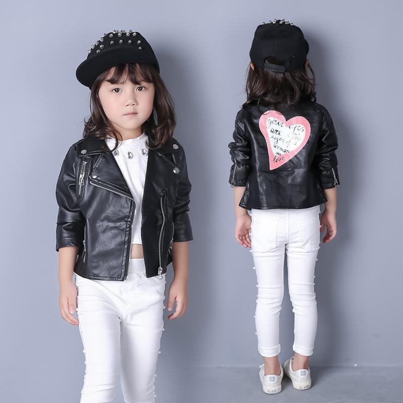 Hot sale 2016 baby girls leather jacket autumn child toddler girl heart shape back PU jackets