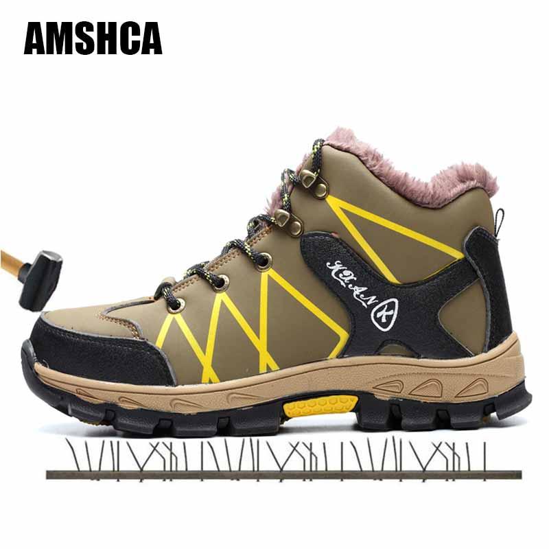 Botas Neve De Anti Amshca Sapatos Preto Indestrutível Inverno Pele À Prova Aço Cabeça Água Punção Masculinos Bater Placa Segurança Trabalho vWqqP1XR