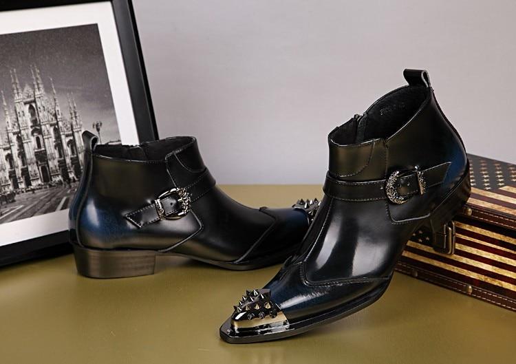 Oxfords Hochzeit Stiefeletten Britischen Black Kleidung Aus Luxus Schuhe Leder Schnalle Booties Geschäft Männer Nieten Spitz Echtem Pyy1U
