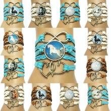 Прямая ручной работы Бесконечность/талисман Двойное сердце лошади боковая кожа обруча браслет браслеты
