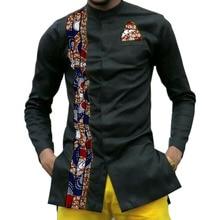 Impresión africana para hombre camisas dashiki ropa africana personalizada moda camisa de manga larga hombres camisa de cuello de África