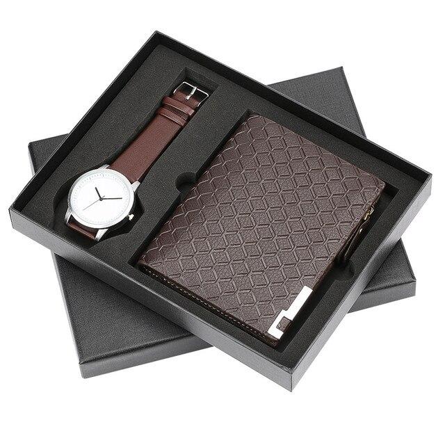 Marrom Cour casuais Relógios Homens Carteira de Moda Jogo Do Presente para Namorado Pai Design Simples Relógio Relógio Dos Homens Zip Saco de Dinheiro