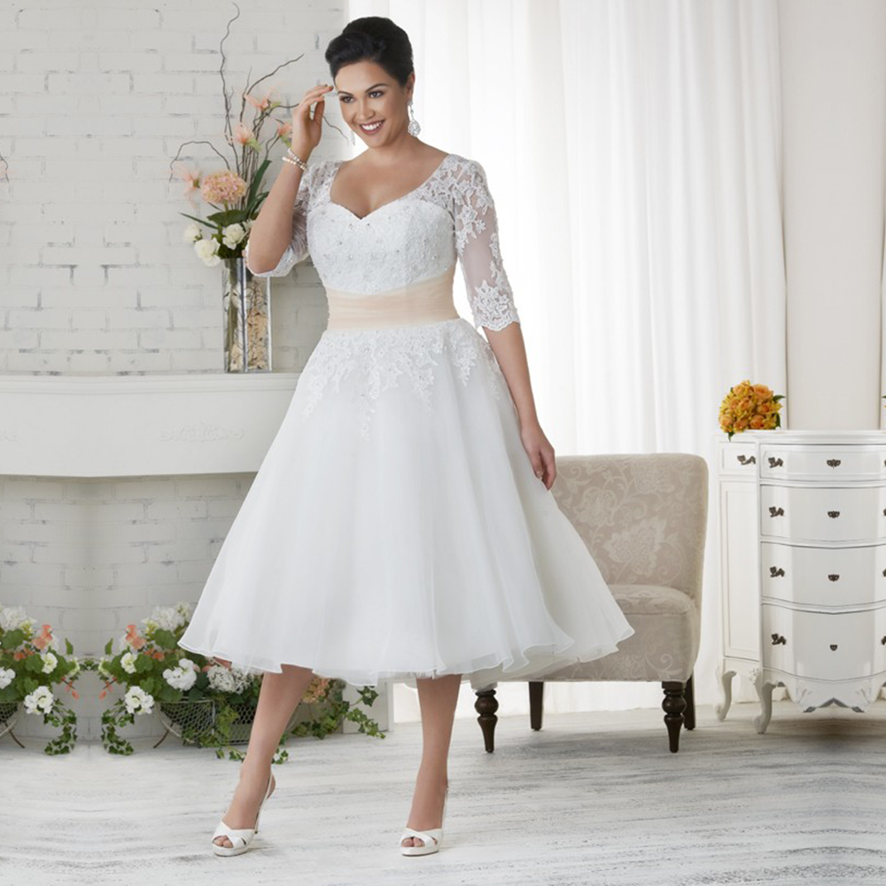 Vintage Tulle Short Plus Size Wedding Dresses Beaded Half