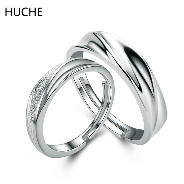 Huche Hot Fashion 925 Silver Ring Sets For Women And Men Jewelry Pure Wedding