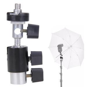 """Image 3 - E Typ Metall Halterung Universal Heißer Schuh Speedlite Regenschirm Halter Mit 1/4 """"bis 3/8"""" Schraube Montieren Swivel adapter Licht Stehen"""