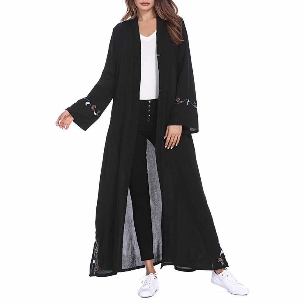 Мусульманские, исламские женщины кардиган с вышивкой длинное пальто Ближний Восток длинный халат хиджаб Абая для женщин платье C30118