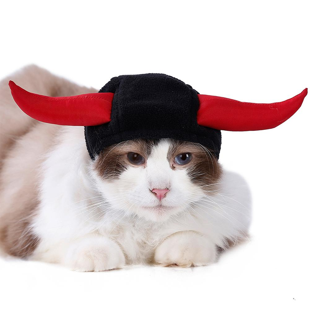 Cat Clothing Cat Supplies Collection Here Pet Bull Horn Hat Cat Dog Hat Pet Transformation Cap Pet Headgear Party Costume Accessories