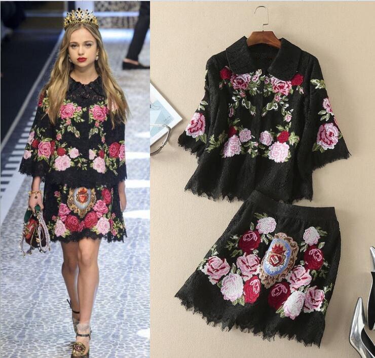 Urumbassa наборы женские 2018 Весна посадочных полосах вышивкой кружевная блузка + мини юбка комплект из двух предметов высокого качества брендов