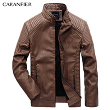 CARANFIER 2017 Men Jacket  Autumn Winter Fashion PU Faux Leather Jackets Men Good Quality Casual Slim Mens Warm Jacket Coat XXXL