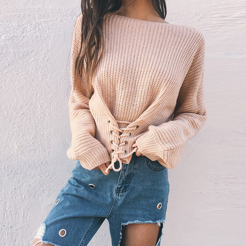 Fashion Women Pullovers 2018 Winter Korean Long Sleeves Lace Up Short Sweater 5 Colors Fashion Knitted Top Round Neck Jumpers