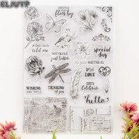 KLJUYP 1 Sheet DIY Flowers And Birds Transparent Design Transparent Clear Rubber Stamp Seal Paper Craft