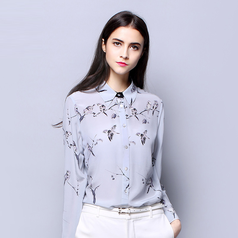 100 SIlk Crepe Shirt Pure Silk Fabric Eco friendly Printing New Trend Birds Pattern Top High