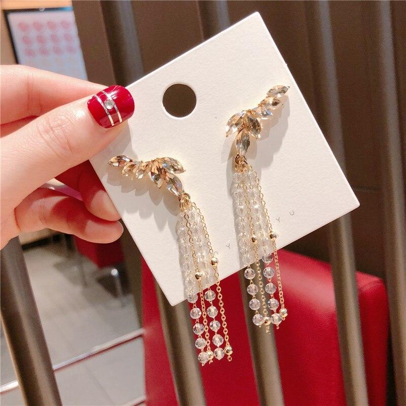 Korea Handmade Anti allergy Angle wings Crystal Tassel Women Drop Earring Dangle Earring Fashion Jewelry Accessory QQD5 in Drop Earrings from Jewelry Accessories