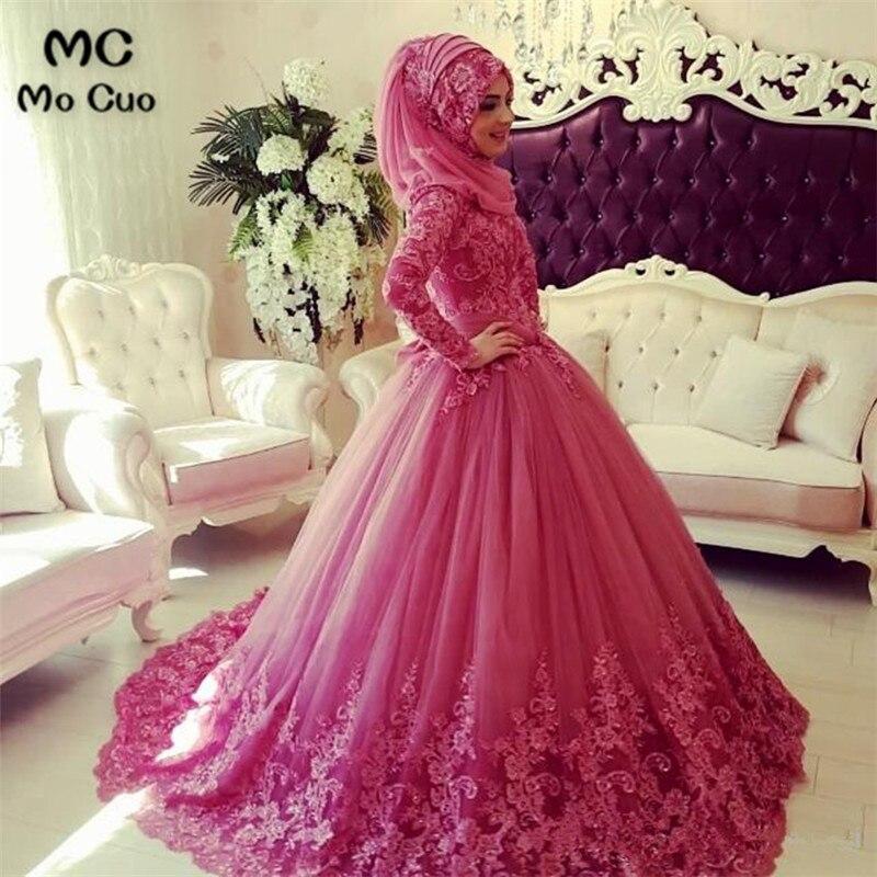 Арабский мусульманский свадебное платье 2018 турецкий Gelinlik Кружева Аппликации бальное платье исламские Свадебные платья хиджаб с длинным ру