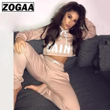 2 Pieces Women Set Letter Print Sexy Outfits for Skinny Tracksuit Sporty Wear Casual 2019 ZOGAA