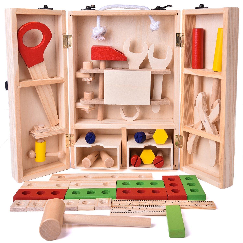 Fun Kid Bois Outil Cadeau D'apprentissage Construction Set Jeux de simulation Creative BRICOLAGE En Bois Massif Durable Cas Marteau Tournevis 43 pcs