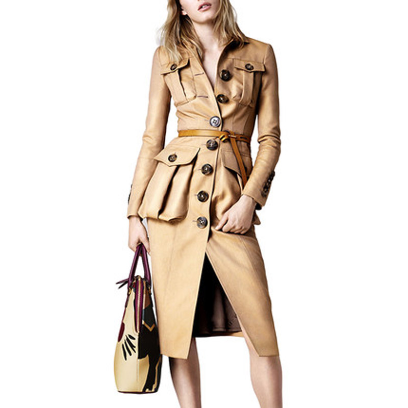 2019 New Brand Women Trench Coat Long Windbreaker European Fashion Trench Coat For Women Overcoat Outwear Casaco Feminino LJ18