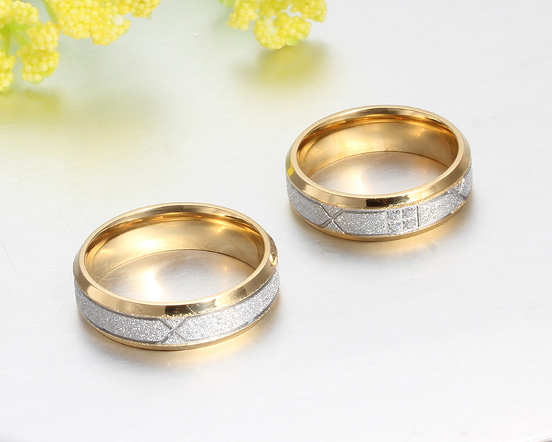 vnox fashion couple ring for women men frosted matte stainless steel with cz lover wedding engagement rings in rings from jewelry accessories on - Wedding Rings For Couples