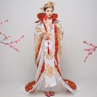Китайские традиционные народные традиционный наряд ханьфу династии Тан queen хвостохранилища костюм Гучжэны Show Костюмы Для женщин Hanfu Китайс
