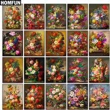 HOMFUN Full Square/Round 5D DIY Diamond Embroidery Colored flowers Painting Cross Stitch Rhinestone Decor