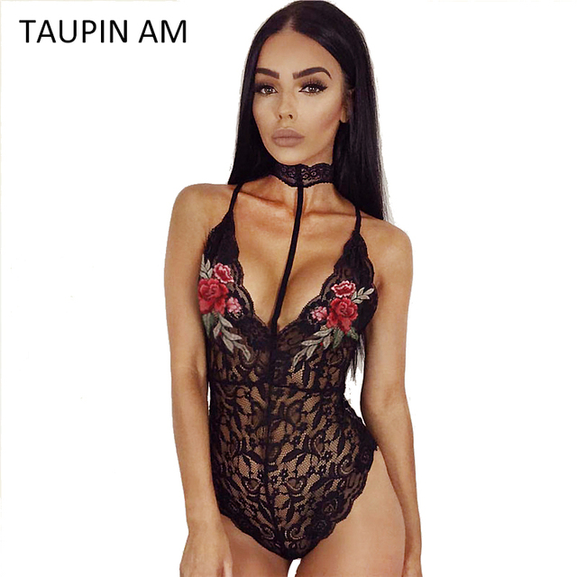 e2d4bee43d TAUPIN AM Sexy flower embroidery lace Jumpsuit Black bodysuit for women  skinny Choker neck halter sleeveless female body catsuit