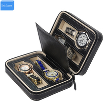 Luxury Black Zippered 4 Case Organizer Leather  Mens Watch Travel For Four Watches Velvet Lining