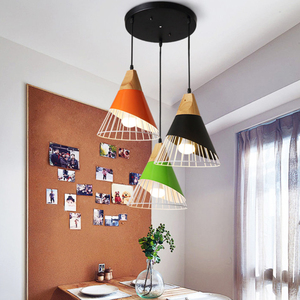 Image 2 - Modern Wood Pendant Lights Lamparas Colorful iron lamp shade Luminaire Dining Room Lights Pendant Lamp For Home Lighting