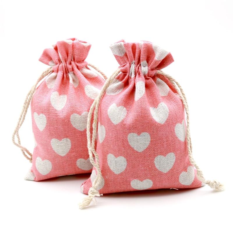5PCS  10x14cm Cotton Linen Bags Sweet Pink Heart Gift Drawstring Bags Neckalce Bracelets Bangle Handmade Jewelry Packing Bag