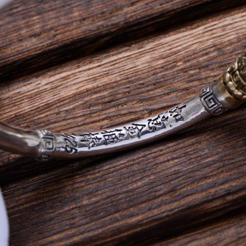 Takı ve Aksesuarları'ten Bilezikler'de Hakiki 925 Ayar Gümüş Takı Vintage Manşet Bilezikler Erkekler Maymun Kral Altın Cudgel Yüksek Cilalı En Kaliteli'da  Grup 3