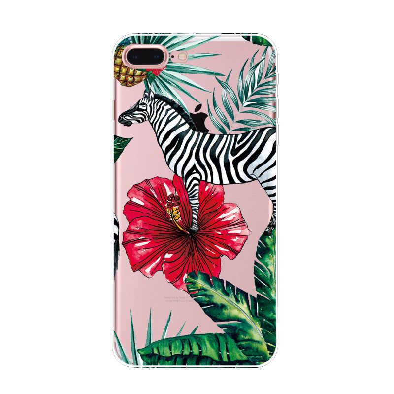 ใหม่สำหรับ Iphone X 5 5 วินาที 6 6 วินาที Plus 7 8 Plus พืชเขตร้อนใบการ์ตูนน่ารัก Zebra soft Tpu โปร่งใสทาสีโทรศัพท์กรณี