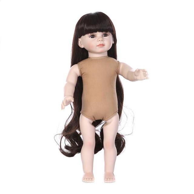 New Design long hair 45 cm kids Girl Doll 18 Full hard plastic Vinyl Silicone Baby Doll Realistic Reborn Dolls Toys for DIY